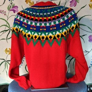 Vintage Sweaters - Vintage fair isle red festive sweater